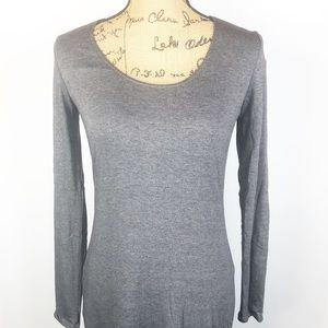 MUSTARD SEED Gray Long Sleeve Knit Maxi Dress